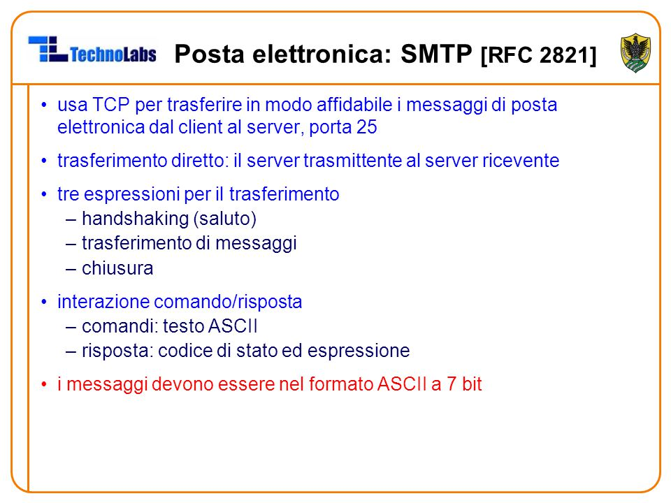 Posta elettronica: SMTP [RFC 2821]
